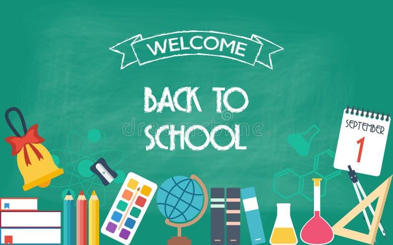 Bandeira horizontal, fundo, cartaz da escola e ícones da educação De volta à escola Projeto liso ilustração stock