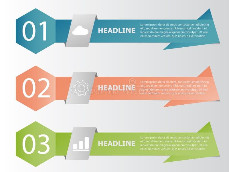 Bandeira infographic, dados da cor da árvore da informação do negócio ilustração do vetor