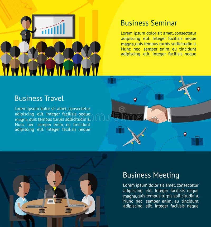 Bandeira infographic das atividades do negócio do homem de negócios ilustração royalty free