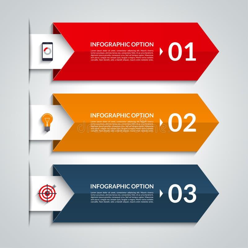 Bandeira infographic das opções da seta Molde do vetor com 3 etapas ilustração royalty free