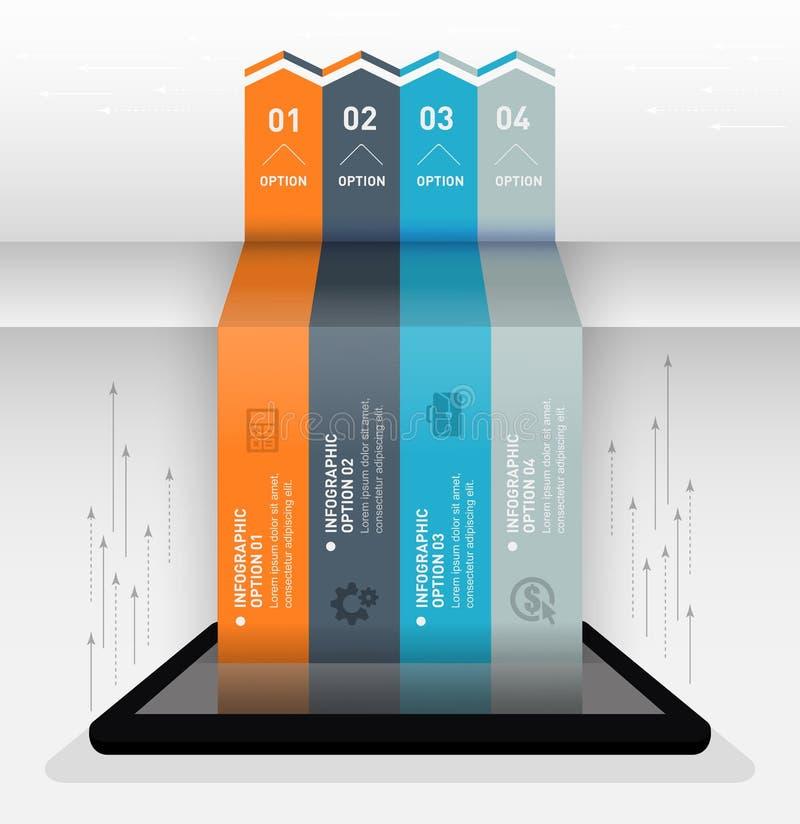 Bandeira infographic moderna das opções do estilo do origâmi do negócio ilustração royalty free