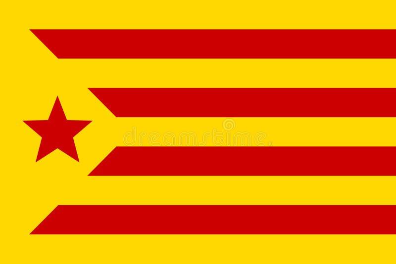 Bandeira informal de terras Catalan, estelada vermelho, ilustração do vetor