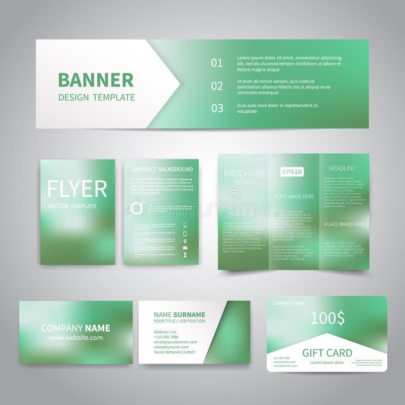 A bandeira, insetos, folheto, cartões, moldes do projeto de vale-oferta ajustados com esmeralda verde gradien ilustração do vetor