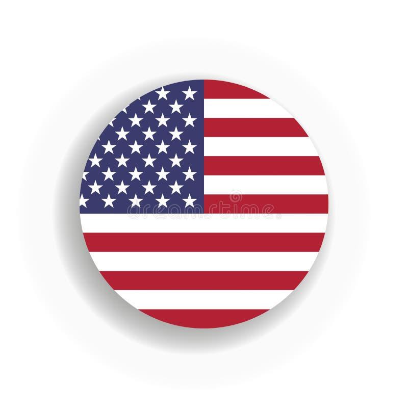Bandeira int que dos EUA circunda com a sombra deixada cair Estados Unidos da América Ilustração do vetor EPS10 ilustração stock