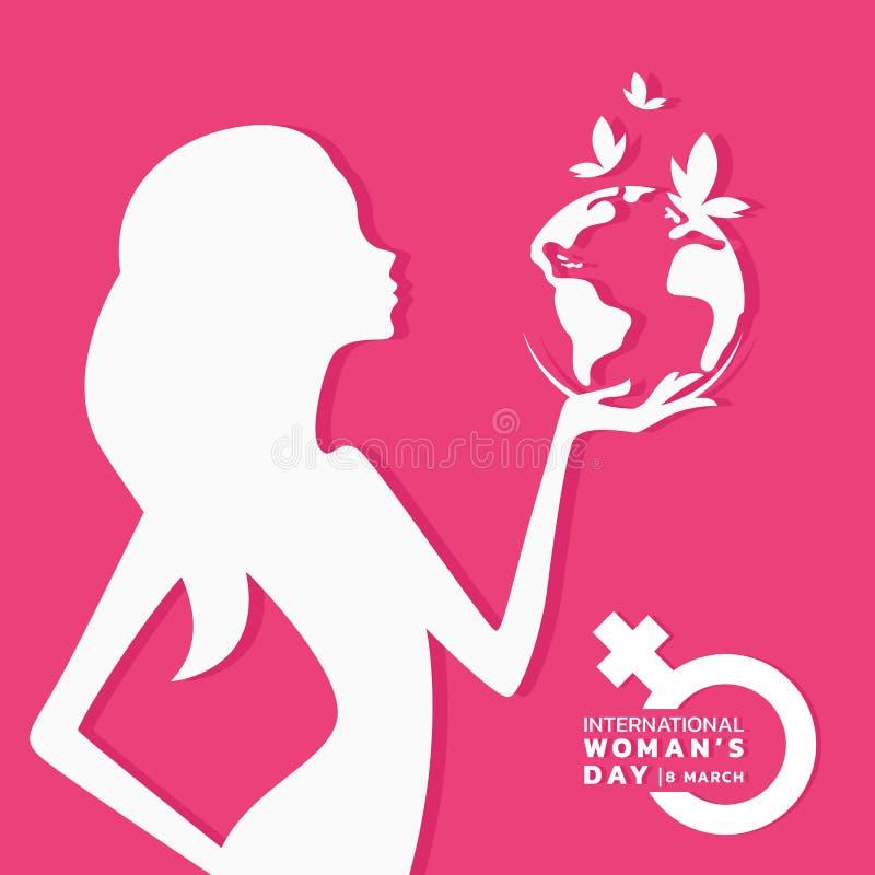 Bandeira internacional do dia das mulheres com sinal do mundo e da borboleta da terra da posse da mulher branca no projeto cor-de ilustração do vetor