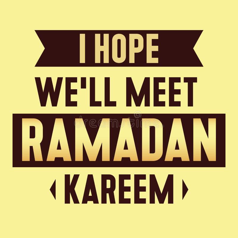 Bandeira islâmica do kareem de ramadan da reunião da religião das citações ilustração stock