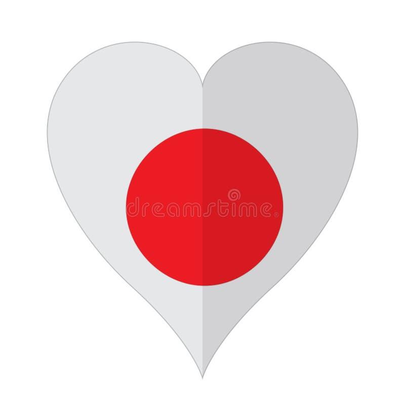 Bandeira isolada de Japão em uma forma do coração ilustração stock
