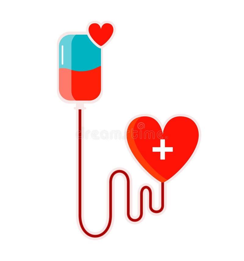 Bandeira isolada do conceito com drooper e coração Vida de salvaguarda da doa??o de sangue Vetor ilustração do vetor