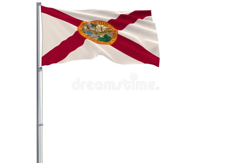 A bandeira isolada do estado da Flórida dos E.U. está voando no vento, ilustração stock