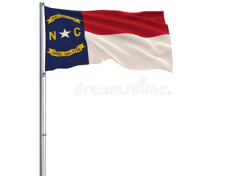 A bandeira isolada do estado de E.U. de North Carolina está voando no ilustração do vetor