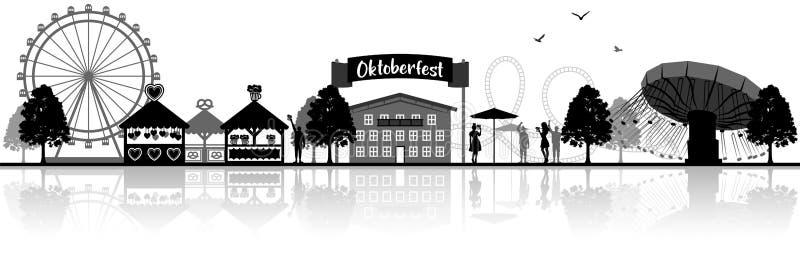 Bandeira isolada silhueta do vetor da skyline do bavaria de Oktoberfest ilustração stock