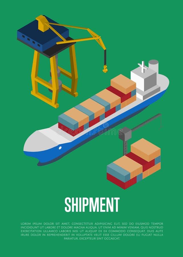 Bandeira isométrica da expedição com navio de recipiente ilustração stock