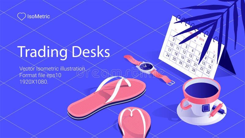 Bandeira isométrica da mesa do trabalho mesa autônomo ilustração royalty free