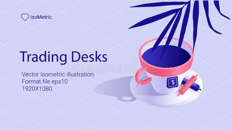 Bandeira isométrica da mesa do trabalho mesa autônomo ilustração stock