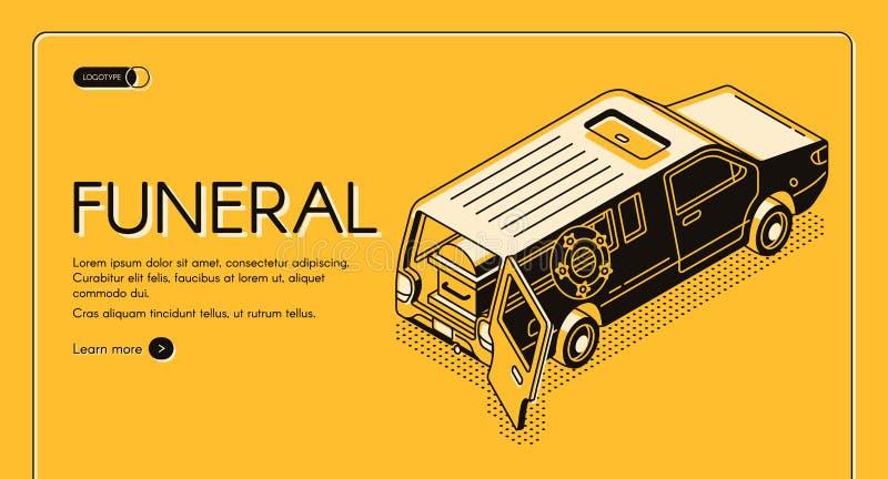 Bandeira isométrica da Web do vetor do serviço fúnebre ilustração do vetor