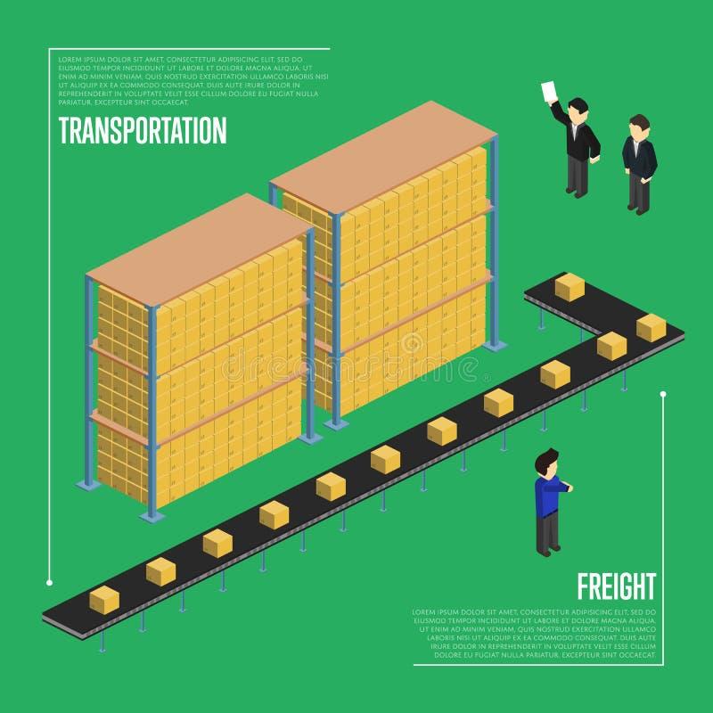 Bandeira isométrica do transporte do frete ilustração do vetor