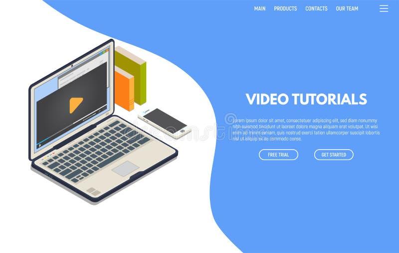 Bandeira isométrica dos cursos video ilustração do vetor