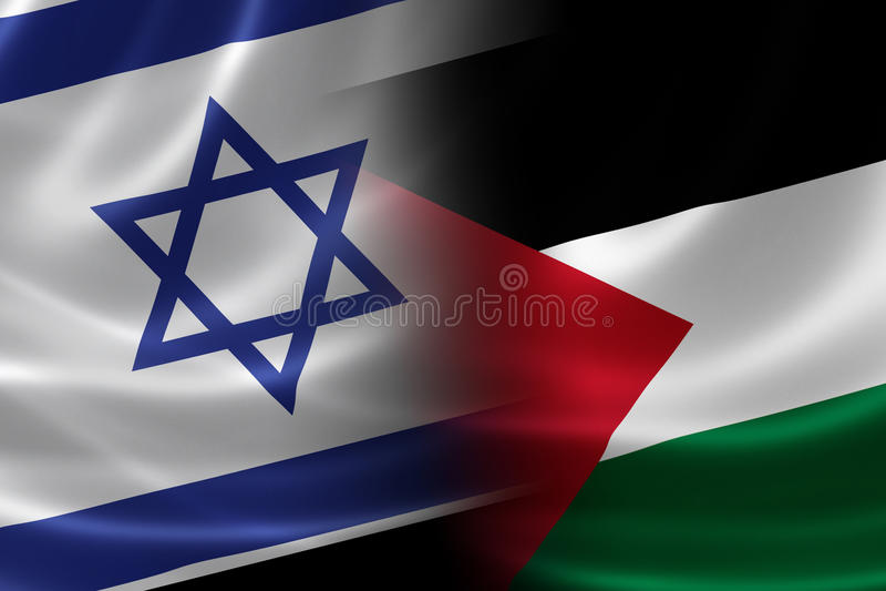 Bandeira israelita e palestina fundida ilustração royalty free