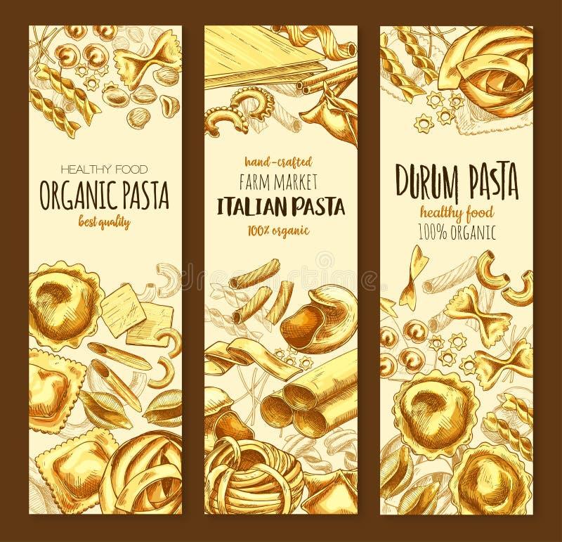 Bandeira italiana do esboço da massa e dos espaguetes da culinária ilustração stock