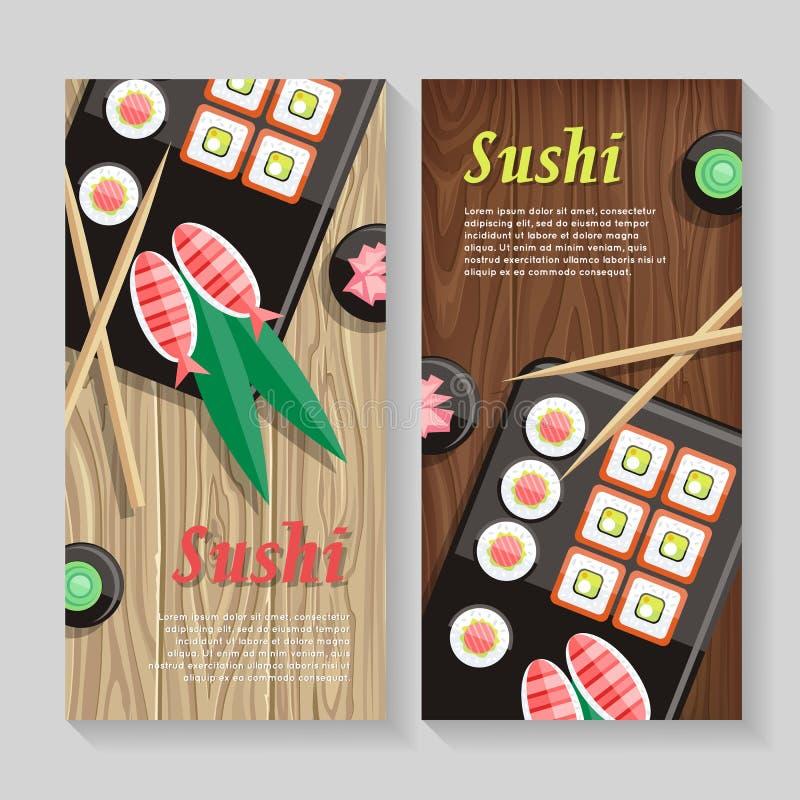 Bandeira japonesa da Web da ilustração do alimento Sushi de Japão ilustração stock