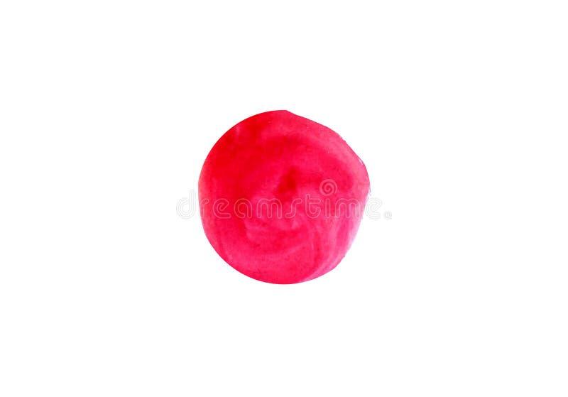 Bandeira japonesa do vetor, ilustração da aquarela, ponto vermelho da pintura no fundo branco ilustração royalty free