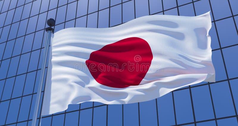 Bandeira japonesa no fundo da constru??o do arranha-c?us Conceito do neg?cio ilustra??o 3D imagem de stock