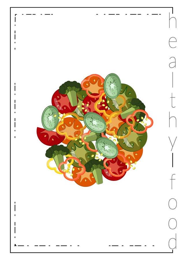 Bandeira Ketogenic da dieta Prato redondo com vegetais cortados Brócolis, pepinos, tomates, abobrinha, pimentas, sésamo ilustração royalty free