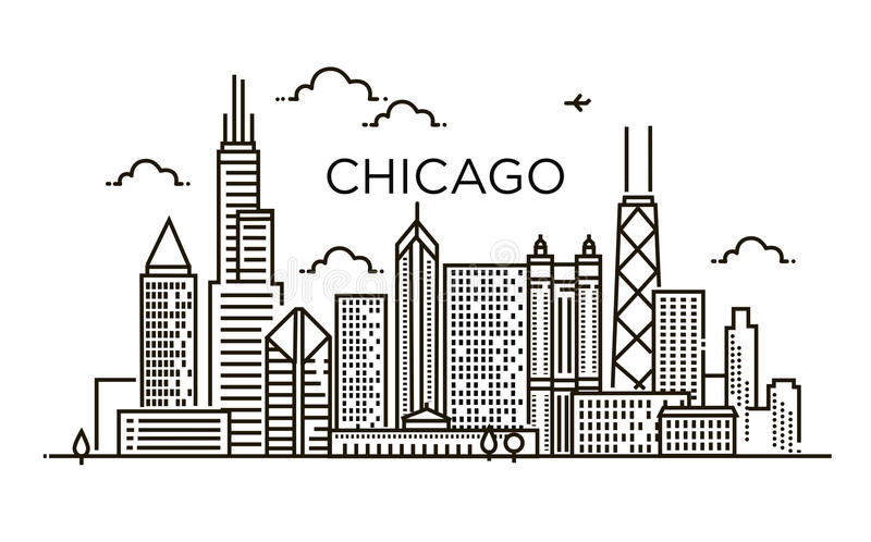 Bandeira linear da cidade de Chicago Linha arte ilustração do vetor