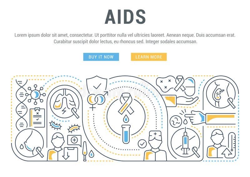Bandeira linear do SIDA ilustração do vetor