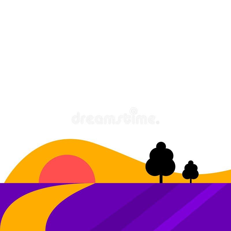 Bandeira lisa abstrata da paisagem do estilo ilustração stock