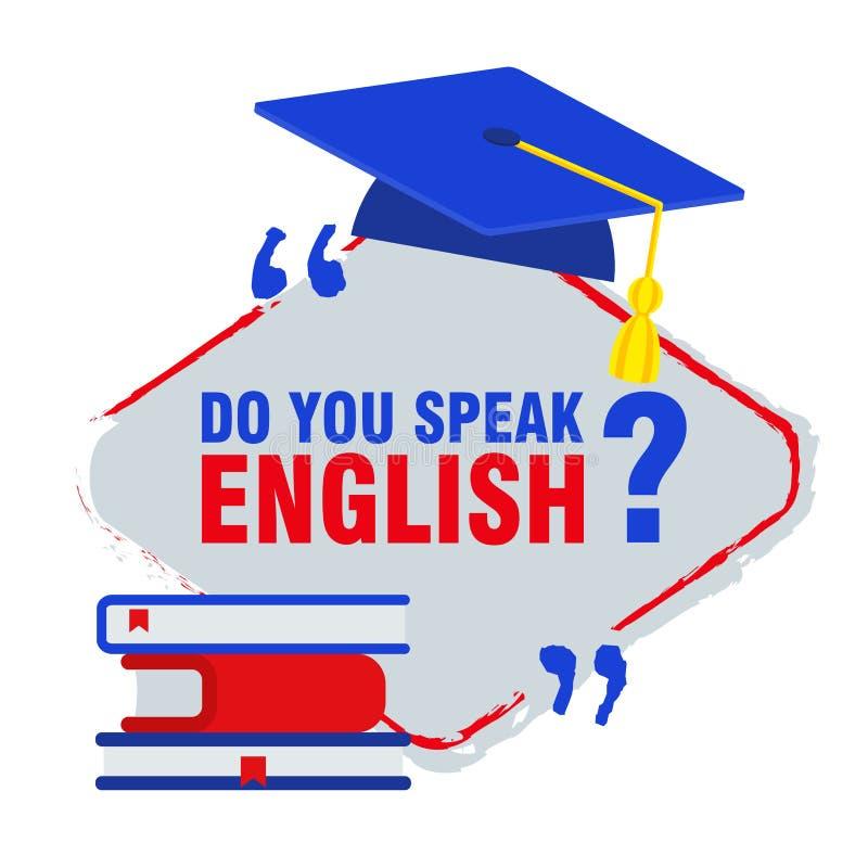 Bandeira lisa brilhante para o aprendizado de línguas inglesas ilustração do vetor