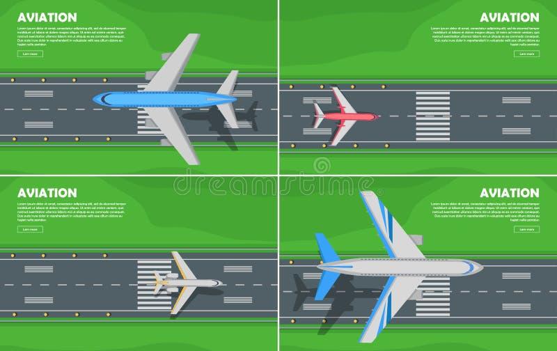 Bandeira lisa conceptual da Web do estilo da aviação ilustração do vetor