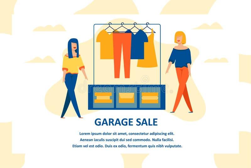 Bandeira lisa da venda de garagem da roupa com reunião fêmea ilustração royalty free