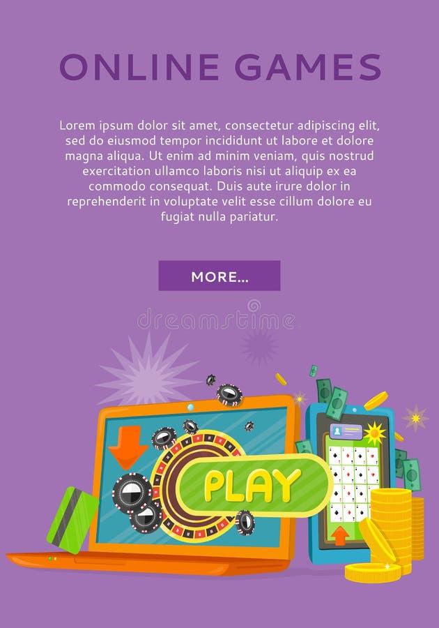 Bandeira lisa da Web do vetor do estilo do conceito dos jogos onlines ilustração do vetor
