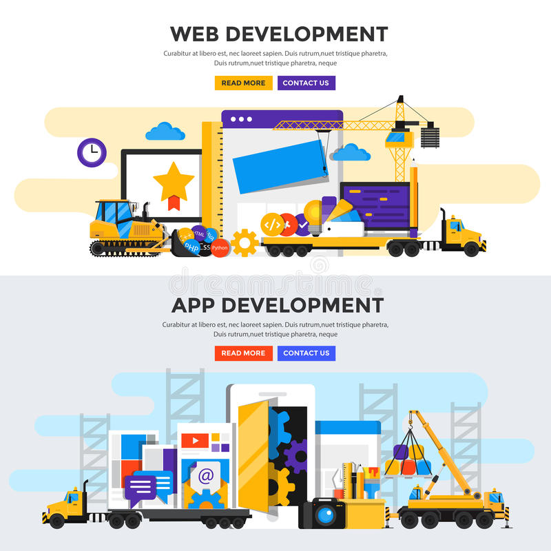Bandeira lisa do conceito de projeto - Apps e desenvolvimento da Web ilustração royalty free