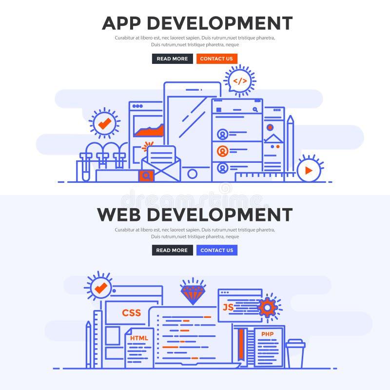 Bandeira lisa do conceito de projeto - desenvolvimento do App e desenvolvimento da Web ilustração stock