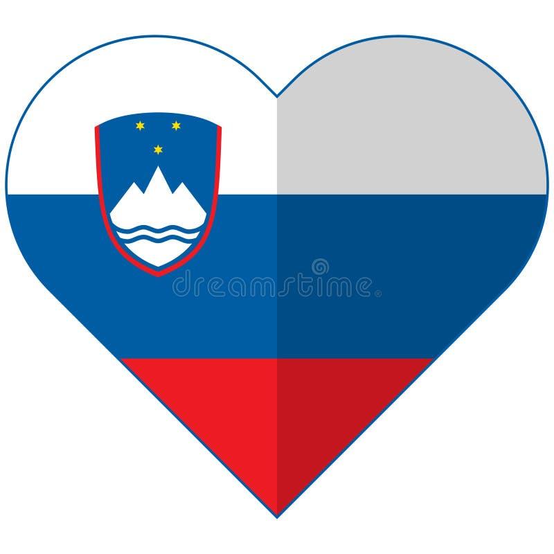 Bandeira lisa do coração de Eslovênia ilustração stock