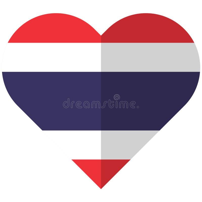 Bandeira lisa do coração de Tailândia ilustração royalty free