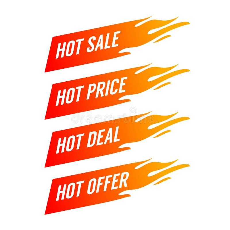 Bandeira lisa do fogo da promoção, preço, venda quente, oferta, preço ilustração royalty free