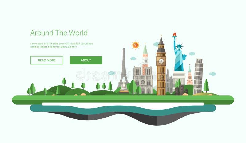 Bandeira lisa do projeto, ilustração do encabeçamento com marcos mundialmente famosos ilustração royalty free