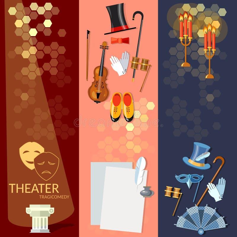 A bandeira lisa do teatro ajustou-se com as decorações da encenação dos atores ilustração royalty free