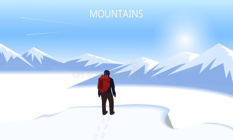 Bandeira lisa do vetor no tema da escalada, Trekking, caminhando, alpinismo Esportes extremos, recreação exterior ilustração stock
