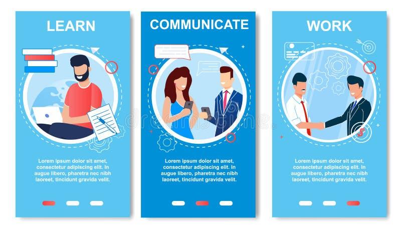 A bandeira lisa escrita aprende, trabalha, comunica-se ilustração stock