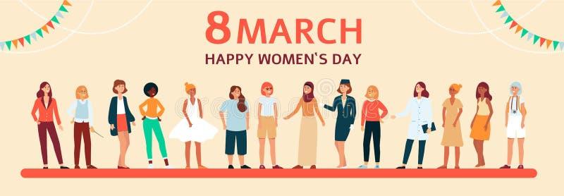Bandeira lisa fêmea horizontal com texto o 8 de março, o dia das mulheres felizes ilustração stock
