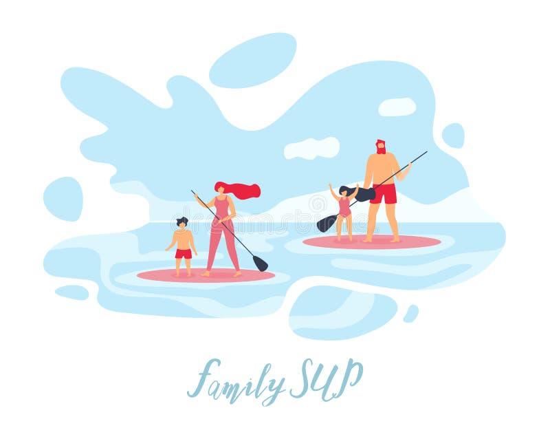 Bandeira lisa Standup do vetor de Paddleboarding da família ilustração do vetor