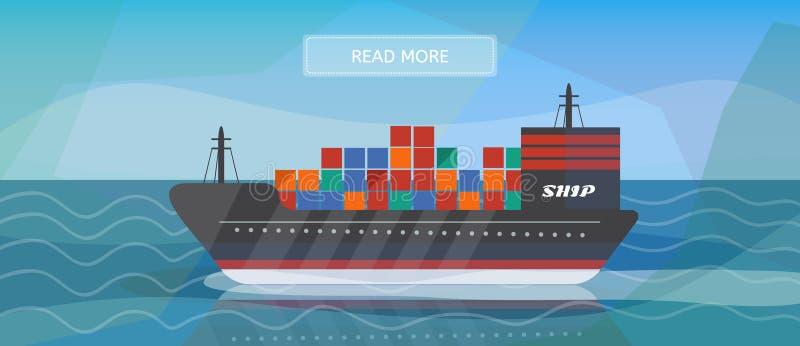 Bandeira logística do navio de carga das rotas ilustração do vetor