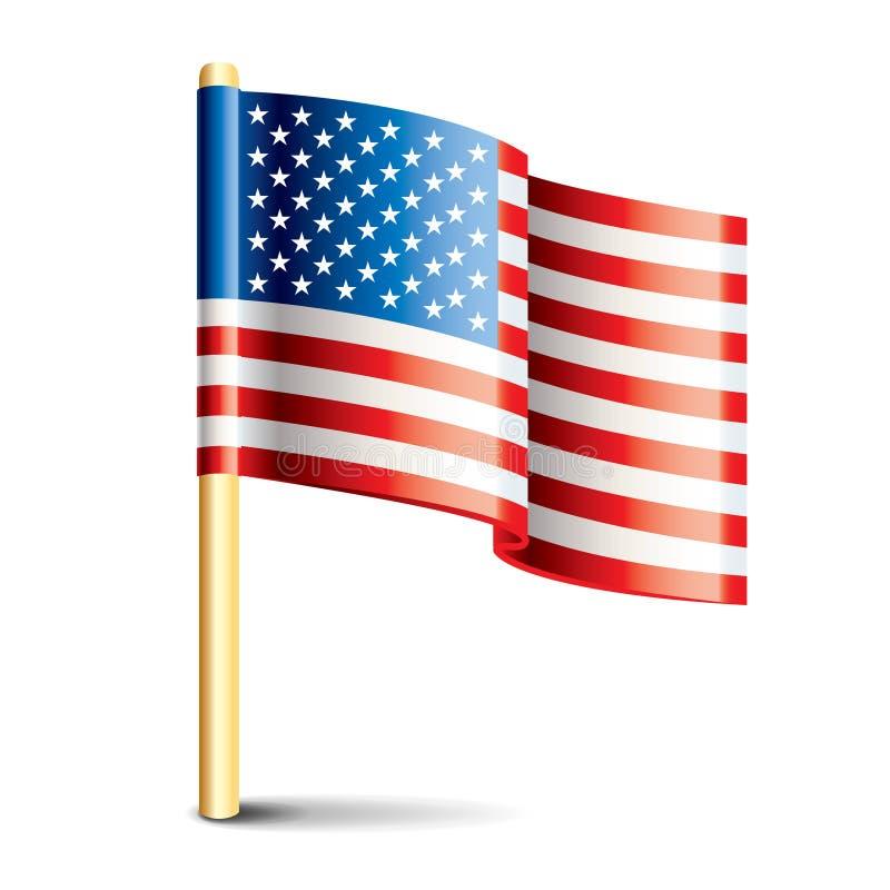 Bandeira lustrosa do Estados Unidos da América ilustração do vetor