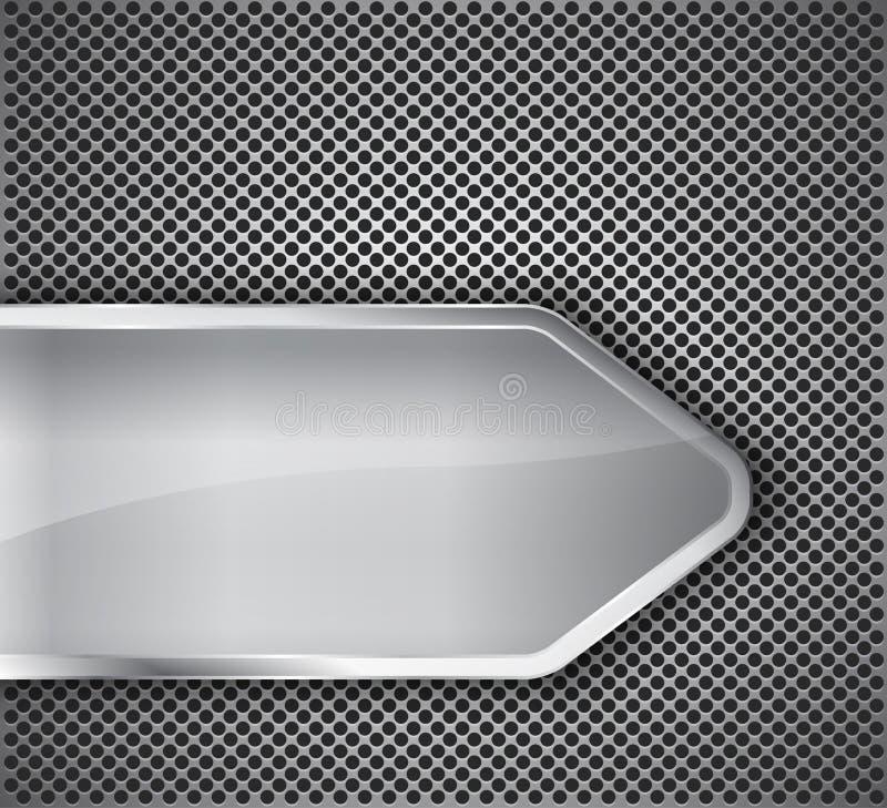 Bandeira lustrosa no fundo metálico textured ilustração do vetor
