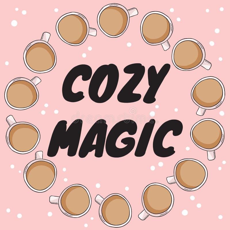 Bandeira mágica acolhedor com os copos do chá ou do café com leite Cartão tirado mão do estilo dos desenhos animados, projeto bon ilustração do vetor
