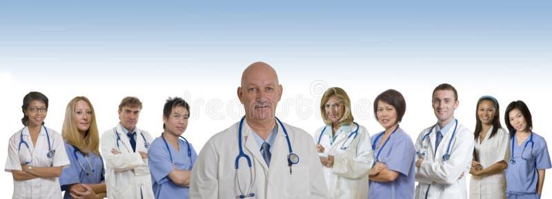 Bandeira médica do pessoal hospitalar diverso fotografia de stock